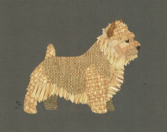 Norwich Terrier handmade original cut paper collage dog art other poses & colors available