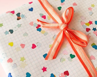 Wrapping Paper Hearts & Stars Confetti - 2 sheets