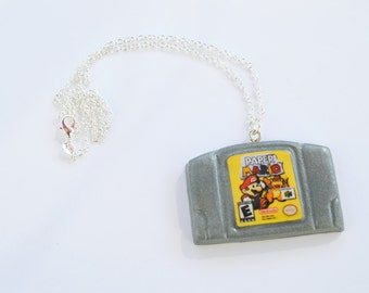 READY TO SHIP, Paper Mario N64 Cartridge Necklace