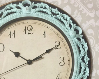 Shabby Chic WALL CLOCK in Mint or Any Color - Ornate - Home Decor
