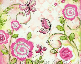 Butterfly Wall Art ~ Girls Nursery Wall Art ~ Musical Butterfly  ~ Pink Green ~ Girl Room Decor ~ Butterfly Theme Decor ~ Art Print