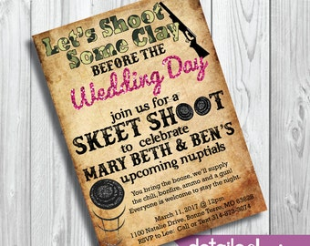 ENGAGEMENT PARTY Skeet Shoot Invitation, Wedding, Rehearsal Dinner, Bridal Shower, Bachelor Party - Digital Download