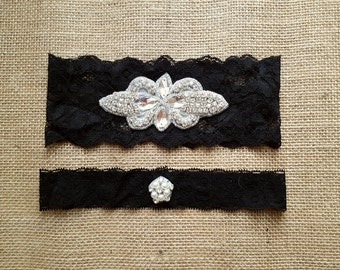 Wedding Garter Set - Black Lace Rhinestone matching toss garter set