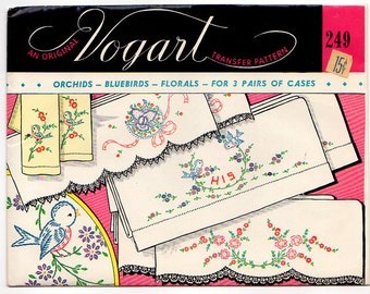Vintage 1950s Vogart Embroidery Transfer Pattern 249 Orchids Bluebirds and Floral Motifs for 3 Pairs of Pillowcases