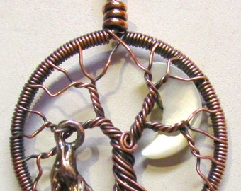 Tree of Life, Coyote and the Crescent Moon Tree of Life, Coyote Moon Pendant, Coyote Moon Necklaced