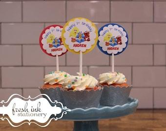 Baby Sesame Street Personalized Birthday Cupcake Tops