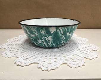 Small Enamelware Bowl Green Swirl Pattern