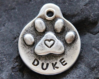 Custom Dog Tags Pet ID Tags Pet Tags Personalized Dog Tag for Dogs Hand Stamped Heart Paw Print Pet Tag