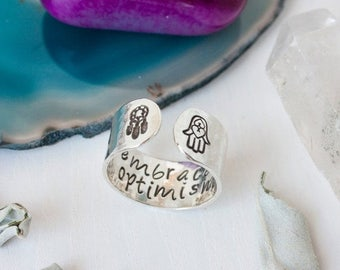 SALE Sterling silver Embrace optimism secret message ring, Hamsa hand and dream catcher ring,silver cuff ring,inspirational quote ring, RTS