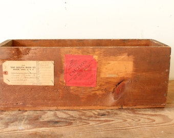 Vintage Wooden Crate Advertising Wood Box Chemical Shipping Crate with Original Labels Rustic Industrial Decorating