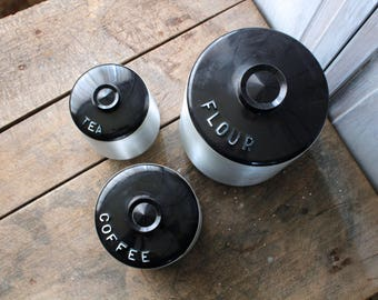1950s Kitchen Canisters Kromex Spun Aluminum Canister Set of 3 Containers Aluminum Ware Black Plastic Lids