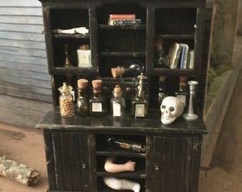 Dollhouse miniature apothecary cabinet filled with wonderful curiosities miniature potions