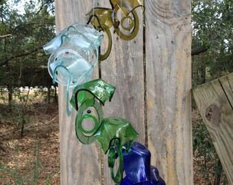 yellow, sea foam, green, blue - GLASS WINDCHIMES -RECYCLED bottles, garden decor, wind chimes, mobiles, musical, windchimes