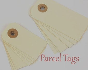 """Parcel Tags, 100 Gift Tags, Hanging Tags 100 Manila Shipping / Parcel Tags - Small - 2 3/4 x 1 3/8""""  tags Ivory Tags,  Gift Tags,  Packaging"""
