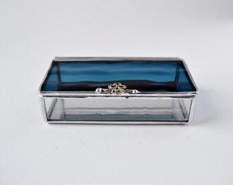 Deep Ocean Blue Glass Box, Glass Box, Glass Display Box, Glass Jewelry Box, Jewelry Box, Gift For Girlfriend, Bridesmaid Gift