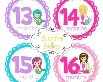 Mermaid Month Stickers - Second Year Stickers - Baby Decals - First Birthday Gift - Baby Monthly Stickers - Baby Girl Month Sticker