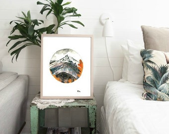 PRINTABLE Art Print Mountain Wall Art Home Decor Nature Nursery Decor Mountain Art Print Nature Circle Art Print At Home Art