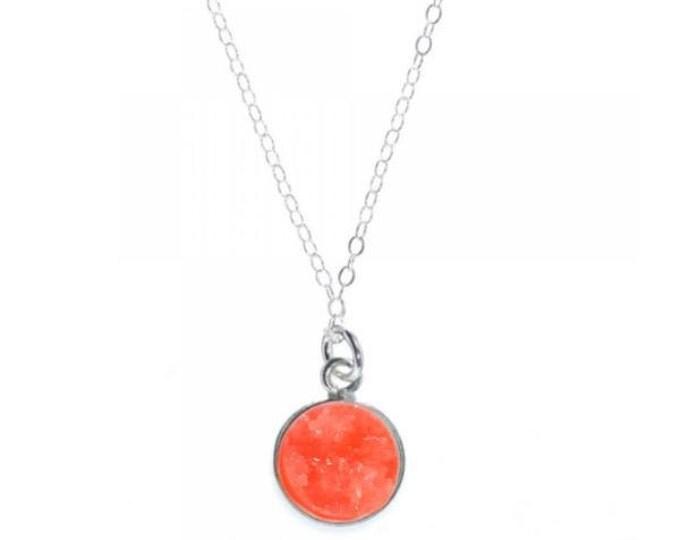 12mm Coral Druzy Necklace