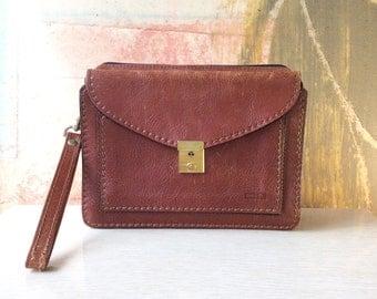 80s Brown Leather Purse • Vintage Bag • Purse with Wrist Strap • Spanish Designer Bag • Pielnoble Purse • Distressed Leather Envelope Purse
