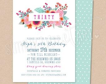 DIGITAL Birthday Party Invitation - modern minimal boho floral pretty stylish invite printable 21st 30th 40th 50th 60th