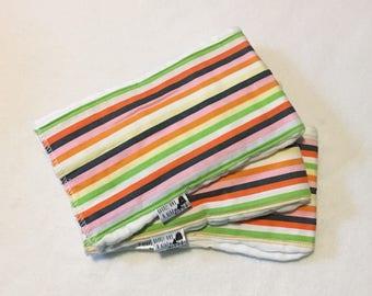 Set of 3 Multi Colored Stripes Burp Cloths