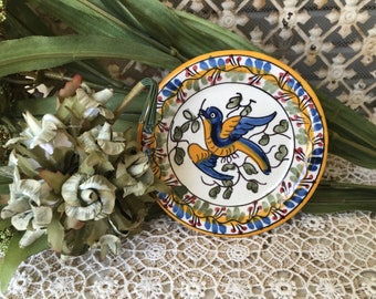 Pretty Vintage Portuguese Pottery Butter Pat With Bird Design