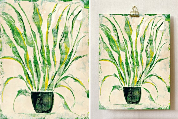 """Plant Study 0005 PAINTING on CANVAS SHEET 12"""" x 16"""", Snake Plant, Sansevieria"""