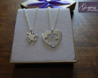Best Friend Puzzle and Heart Necklace Pendants