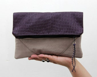 Vegan Clutch,  fold over handbag, Faux Crocodile color block, taupe and purple, minimalist design, Womens gift. Wife gift. Gift for her.
