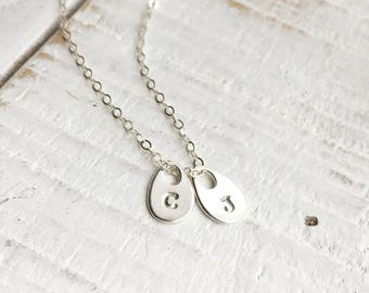 925 Sterling Silver Initial Necklace, Custom Initial Jewelry, Hand Stamped 925 Sterling Silver Tiny Initial Necklace, Everyday Wear
