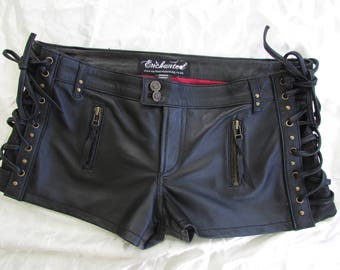 Black leather steampunk shorts biker leather laceup shorts tribal shorts burning man brass studs and detail SYLPHIDE 32