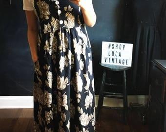 Vintage 90's Express Floral babydoll midi dress