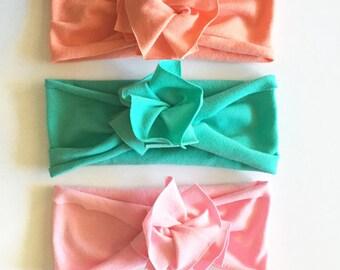 Favorite Three Bundle // Save on set of 3 // Flower Jersey Headband // Baby Girl Headband // Infant // Newborn // Adult // Floral :FLB