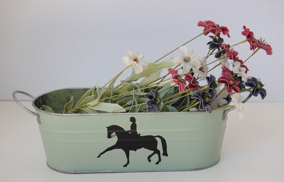 Hand painted metal tray, candy dish, hunter jumper, equestrian art, dressage silhouette, mint green