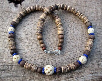 Mens surfer necklace, Victorian era carved bone beads, glass chevron trade beads, wood and coconut shell beads, tribal style, one of a kind