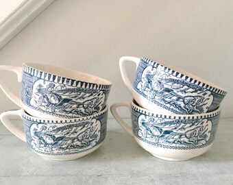 Vintage Currier and Ives Blue Cup Mug Set of Four
