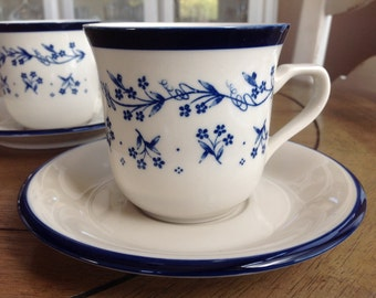 set of 2 Sango Cups and Saucers in the Provence Bouquet Blue Pattern 1987 Discontinued