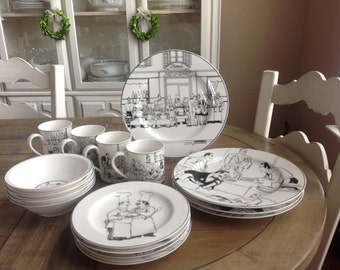 Epoch Le Restaurant Collection Noritake 16 Piece set 4 Place Settings Black and White French Scenes
