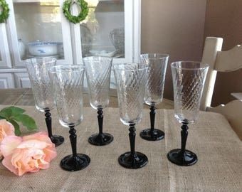 Set of 6 Onyx Champagne Flutes by Cristal D'Arques Durand Luminark France 6 3/8""