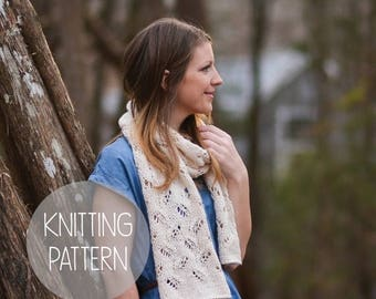 FLASH SALE knitting pattern spring lace eyelet scarf - the petals scarf