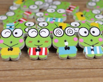 """30 PC Painted wood buttons 22mm - Wooden Buttons ,buttons, natural wood buttons """"frog"""" A116"""