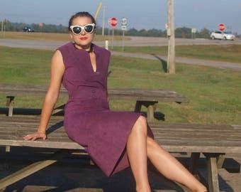Purple Suede Vintage Dress Leather Belted Shift Dress Boho Sleeveless