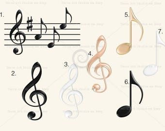 Music notes clipart set, digital graphic, instant download, 3D clip art for scrapbooking and crafts, cute clipart, black, music