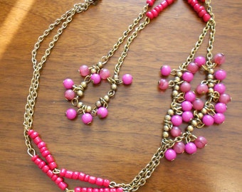 Vintage antique chain.  Pink and red beads.  Brass beads.
