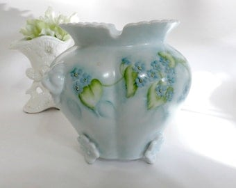 Vintage Porcelain Vase or Jar,  Hand Painted w Blue Forget Me Nots,  Signed N Grieser, Soft Greens and Blues, Vintage by TheSweetBasilShoppe