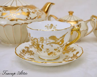 Coalport White and Gold Embossed Vintage Teacup and Saucer, Wedding Gift, English Bone China Tea Cup, ca. 1950