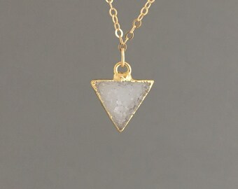 Gold Trim Triangle Druzy Necklace