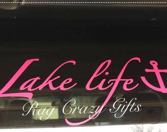 Lake Life Decal, Personalized Decal, Vinyl Decal, Lake Life Decor, Yeti Decal, Laptop Decal, Lake Stuff