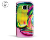 Samsung Galaxy S7 S7 EDGES6S5 phone case Colourful Paint Swirl with Mix of Yellow Green and Pink  detail of a Painters Palette