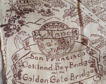 Vintage San Francisco Handkerchief Pocket Square California Souvenir Map Gift for Him Golden Gate Bridge
